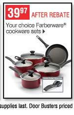 39.97 after rebate Your choice Farberware cookware sets