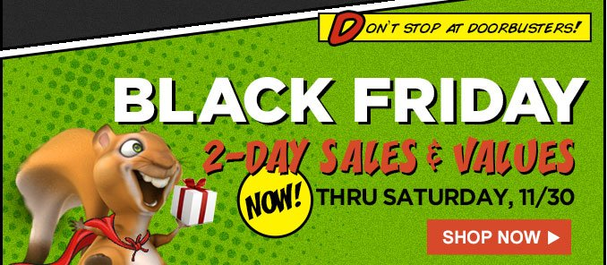 DON'T STOP AT DOORBUSTERS! | BLACK FRIDAY 2-DAY SALE & VALUES | NOW! THRU SATURDAY, 11/30 | SHOP NOW