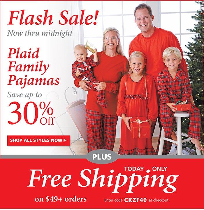 Flash Sale: Save up to 30% off Plaid Family Pajamas now thru midnight!