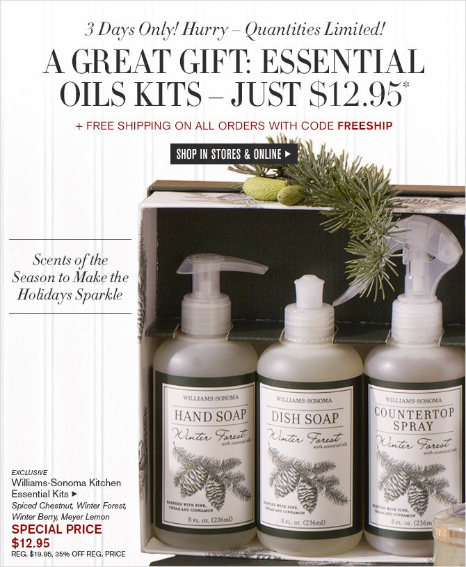 3 Days Only! Hurry - Quantities Limited! - A Great Gift: Essential Oil Kits - JUST $12.95* + FREE SHIPPING ON ALL ORDERS WITH CODE FREESHIP - SHOP IN STORES & ONLINE - A Great Gift! Scents of the Season to Make the Holidays Sparkle