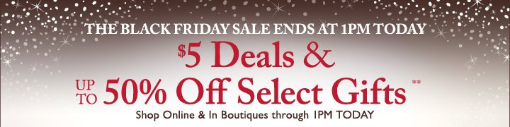 THE BLACK FRIDAY SALE STARTS NOW! $5 Deals & UP TO 50% Off Select Gifts**