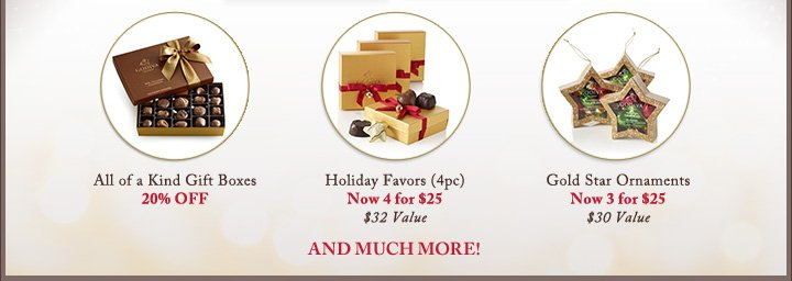 All of a Kind Gift Boxes | 20% OFF | Holiday Favors (4pc) | Now 4 for $25 | $32 Value | Gold Star Ornaments | Now 3 for $25 | $30 Value