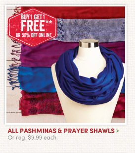All Pashminas & Prayer Shawls - Buy One, Get One FREE!