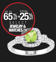 Up to 65% off + Extra 25% off Select Jewelry & Watches**