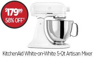 KitchenAid White-on-White 5-Qt Artisan Mixer - $179.99 - 58% off‡