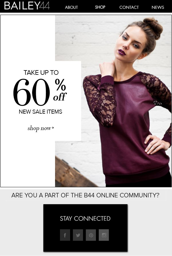 TAKE UP TO 60% OFF NEW SALE ITEMS