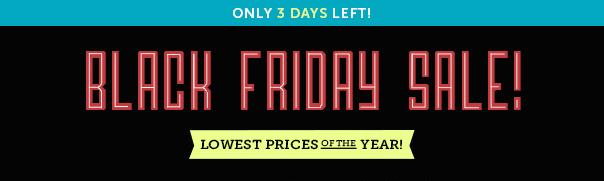 Only 3 Days Left! Black Friday Sale - Lowest Prices of the Year!