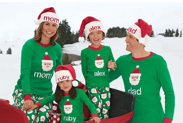 shop select personalized holiday pj's