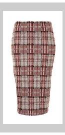 Grey Check Tube Skirt
