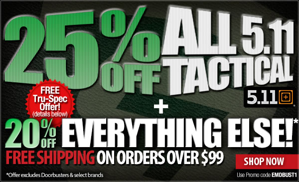 25 percent off 5.11 Tactical | 20 percent off Sitewide + Free Shipping On Orders Over 99 dollars