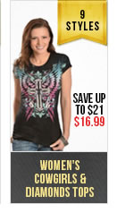 Womens Cowgirls and Diamonds Tops
