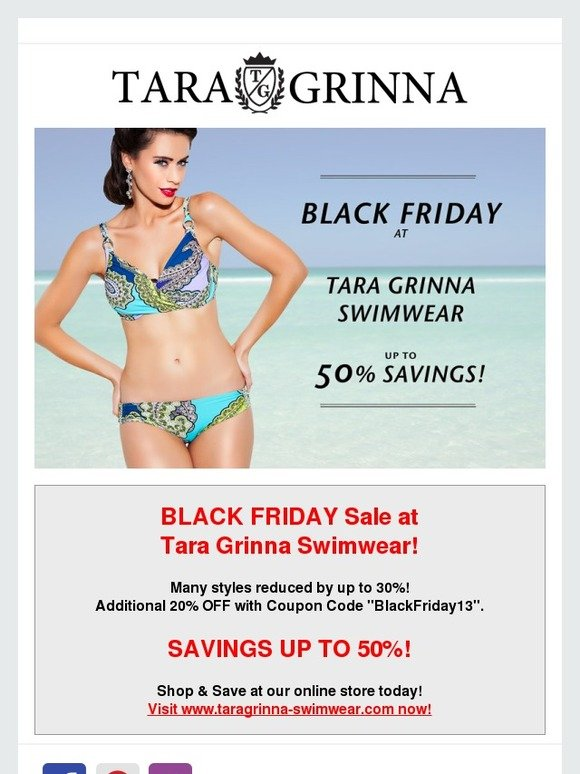 4fe7ebec44035 Tara Grinna: Black Friday Sale at Tara Grinna Swimwear! | Milled