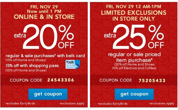 Extra 20% and Extra 25% off. Get coupon.