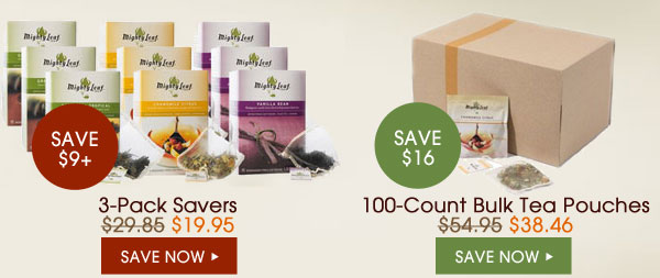 3-Pack Savers - Save $9+. 100-Count Bulk Tea Pouches - Save $16...