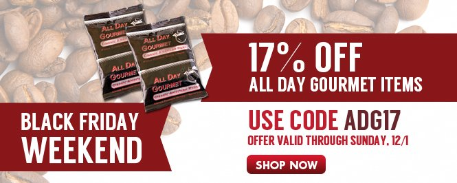 Your biggest savings on All Day Gourment with coupon code:  ADG17