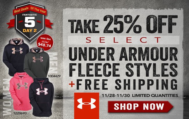 Take 25% OFF Select Under Armour Fleece Styles + FREE Shipping!
