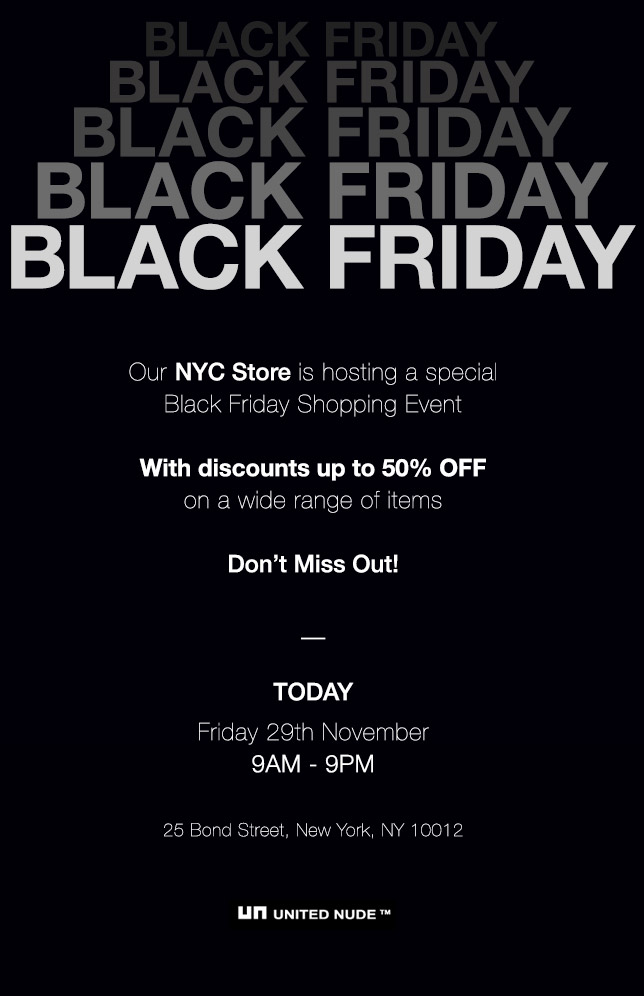 Black Friday   NYC In-store Discounts!