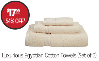 Luxurious Egyptian Cotton Towels (Set of 3) - $17.99 - 54% off‡