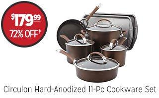 Circulon Hard-Anodized 11-Pc Cookware Set - $179.99 - 72% off‡