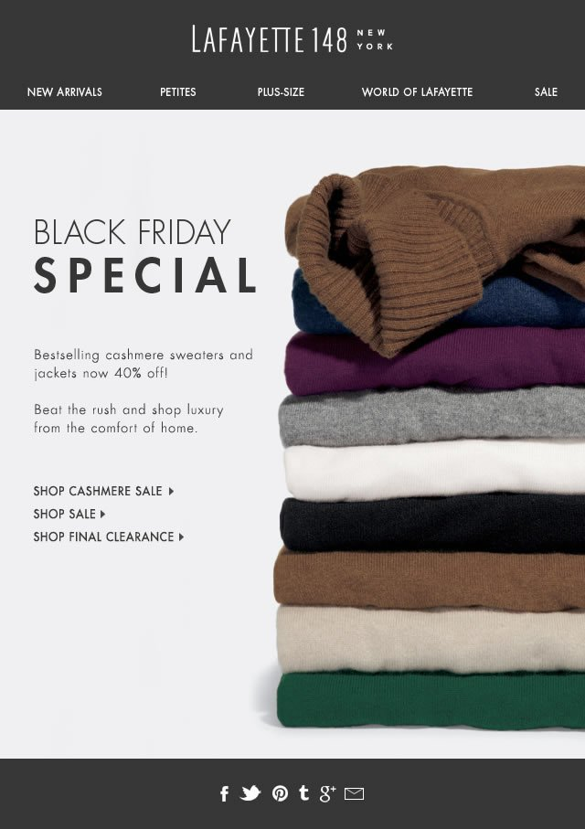 New 40% off Markdowns on Cashmere