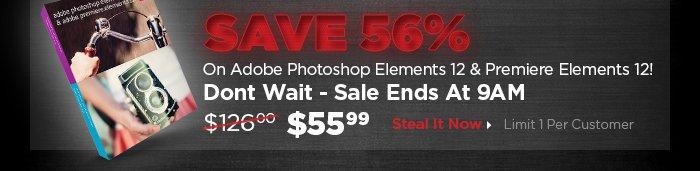 Save 56% on Adobe Photoshop Elements 12 & Premiere Elements 12!