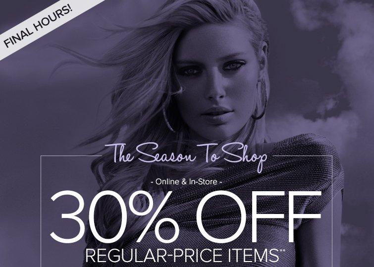 30% off Regular-Priced Items**