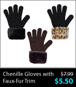 Chenille Gloves with Faux-Fur Trim