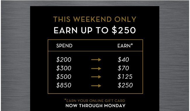 This Weekend Only | Earn up to $250