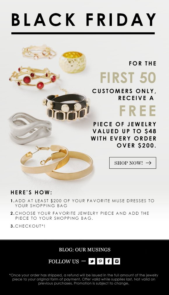 Free jewelry with purchase! First 50 customers only!