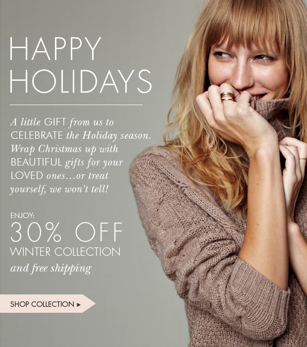 Download Images: Happy Holidays: 30% off winter collection and free shipping