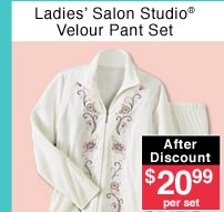 Ladies' Velour Pant Set