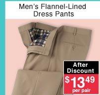 Men's Flannel Lined Dress Pants