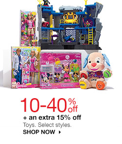 10-40% off + an extra 15% off  Toys. Select styles. SHOP NOW