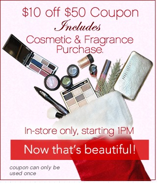 $10 off $50 Coupon Includes Cosmetics
