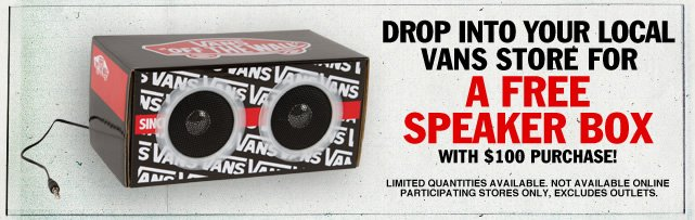 Visit Your Local Vans on Black Friday for A Free Speaker Box!
