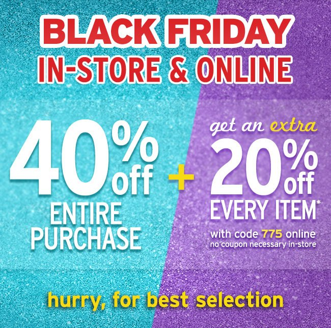 Black Friday In-Store & Online