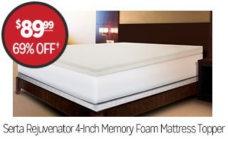 Serta Rejuvenator 4-Inch Memory Foam Mattress Topper - $89.99 - 69% off‡
