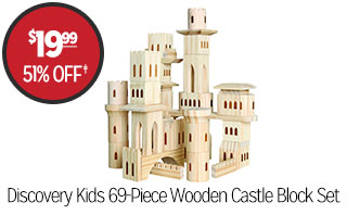 Discovery Kids 69-Piece Wooden Castle Block Set - $19.99 - 51% off‡
