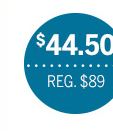 $44.50 | Reg. $89