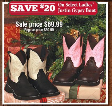Save $20 On Select Ladies' Justin Gypsy Boot