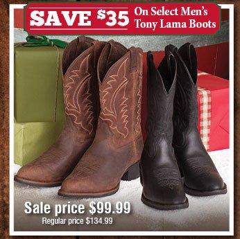 Save $35 On Select Men's Tony Lama Boots