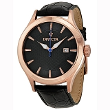 Invicta 12239 Men's Vintage Silver Dial Black Leather Strap Watch