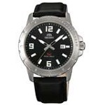 Orient UNE200BB Men's SP Black Dial Stainless Steel Leather Strap Watch