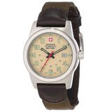 Wenger 72921 Women's Military Classic Field Sports Beige Dial Green Canvas & Brown Leather Strap Watch