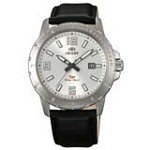 Orient UNE200CW Men's SP Silver Dial Stainless Steel Leather Strap Watch