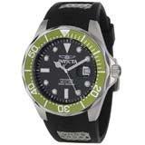 Invicta 12560 Men's Grand Diver Black Carbon Fiber Dial Green Bezel Rubber Strap Dive Watch