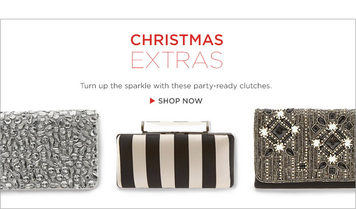 CHRISTMAS EXTRAS | Turn up the sparkle with these party-ready clutches. | SHOP NOW