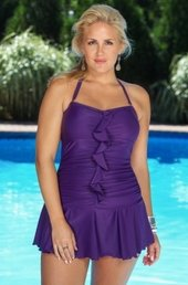 Women's Plus Size Swimwear - Always For Me Chic Solids Valencia Ruffled 1 Pc Swimsuit - NO RETURNS