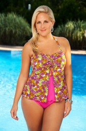 Women's Plus Size Swimwear - Always For Me Chic Prints - Baja 2 Pc Tankini - NO RETURNS