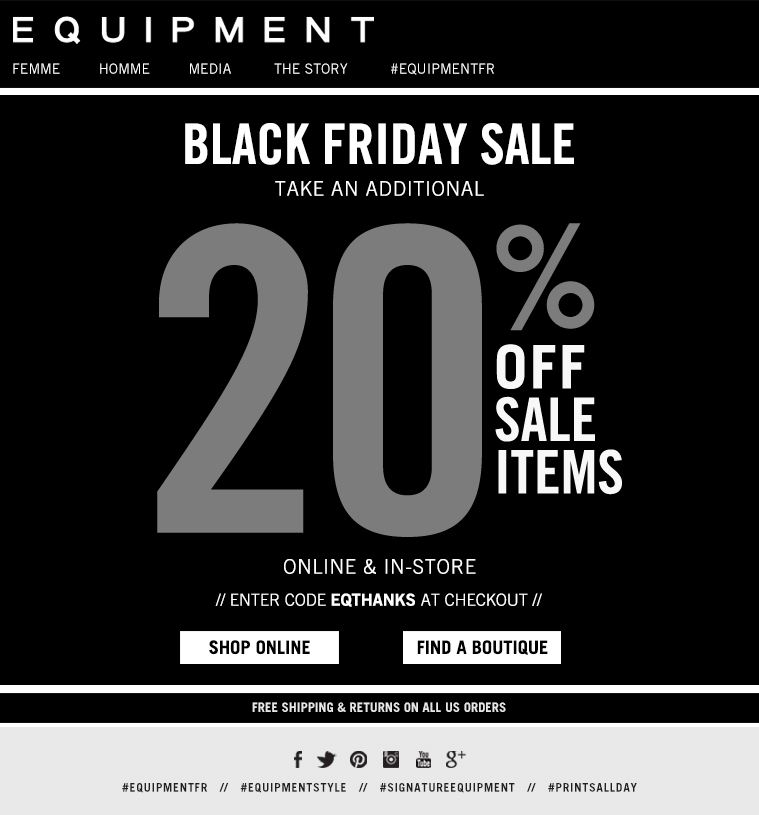 BLACK FRIDAY SALE TAKE AN ADDITIONAL 20% OFF SALE ITEMS ONLINE & IN-STORE